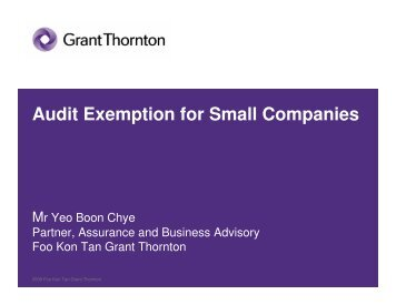 Audit Exemption for Small Companies - ACRA