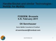 HandlerSocket and similar Technologies - NoSQL for ... - FromDual