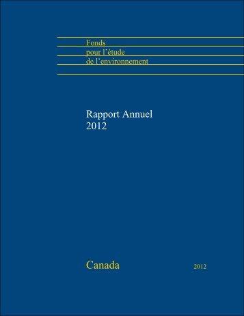 Rapport annuel 2012 - Le Fonds pour l'étude de l'environnement