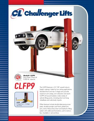 """CLFP9 The CLFP9 features a 10' 7/8"""" overall ... - Challenger Lifts"""