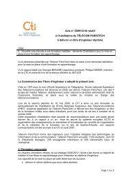 Avis Telecom ParisTech - Commission des Titres d'Ingénieur