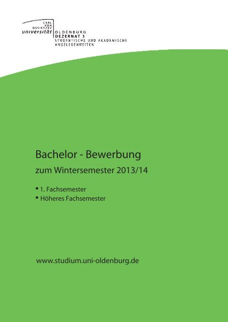 Bachelor - Bewerbung - Studium - Universität Oldenburg