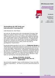 Veranstaltung der ASF Hürth zum Internationalen Frauentag 2012