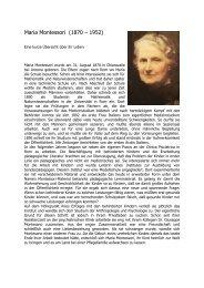 Maria Montessori Lebenslauf - Montessori Innsbruck