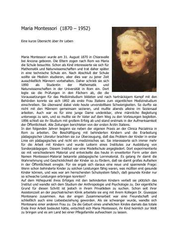 maria montessori lebenslauf montessori innsbruck - Maria Montessori Lebenslauf