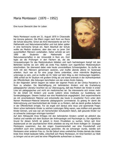 Maria Montessori Lebenslauf Montessori Innsbruck