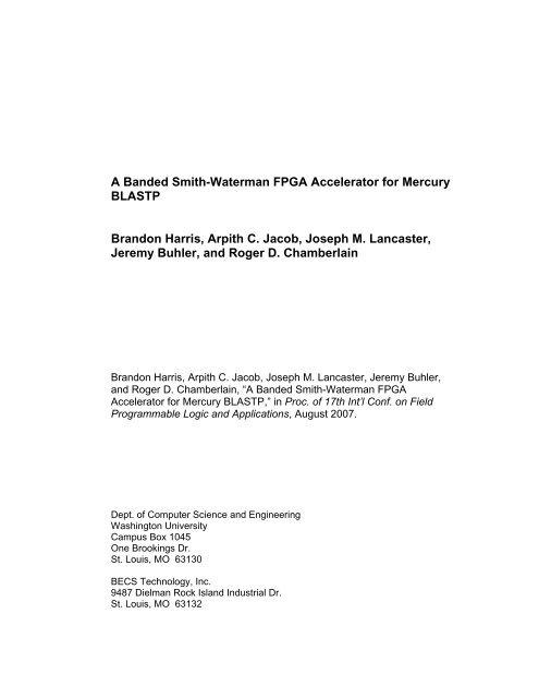 A Banded Smith-Waterman FPGA Accelerator for Mercury BLASTP
