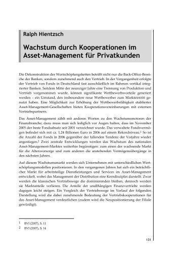 Wachstum durch Kooperationen im Asset-Management für ...