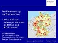 Die Raumordnung auf Bundesebene - Landesentwicklung