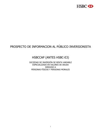 prospecto de informacion al público inversionista hsbccap - Fondos ...