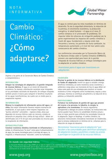 ¿Cómo adaptarse? - Global Water Partnership