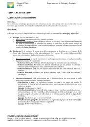 TEMA 9. LOS ECOSISTEMAS - Biología El Valle