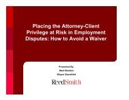 Placing the Attorney-Client Privilege at Risk in ... - Reed Smith