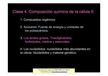 Clase 4. Composición química de la célula II: - psicobiologia