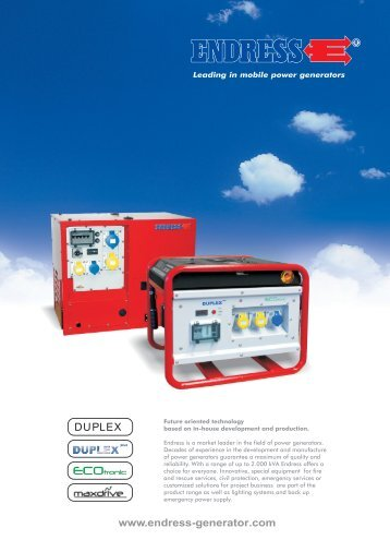 Endress Generators Brochure (PDF) - Rescue-tools.co.uk