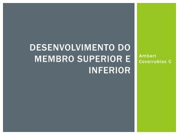 Desenvolvimento dos membro superior e inferior