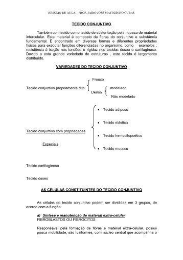 TECIDO CONJUNTIVO - Jairo J. Matozinho Cubas