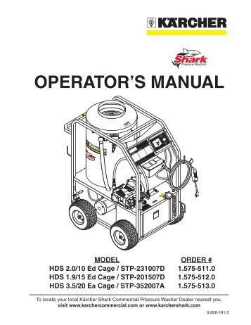 shark pressure washer parts manual