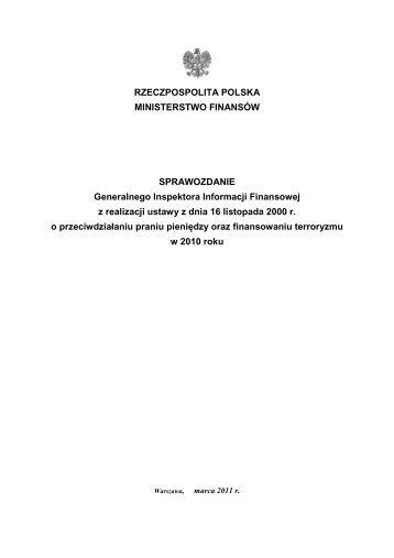 Sprawozdanie z realizacji ustawy w 2010 r. - Ministerstwo Finansów