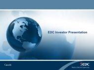EDC Investor Presentation - Export Development Canada (EDC)