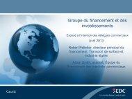 Groupe du financement et des investissements - Exposé à l ... - EDC