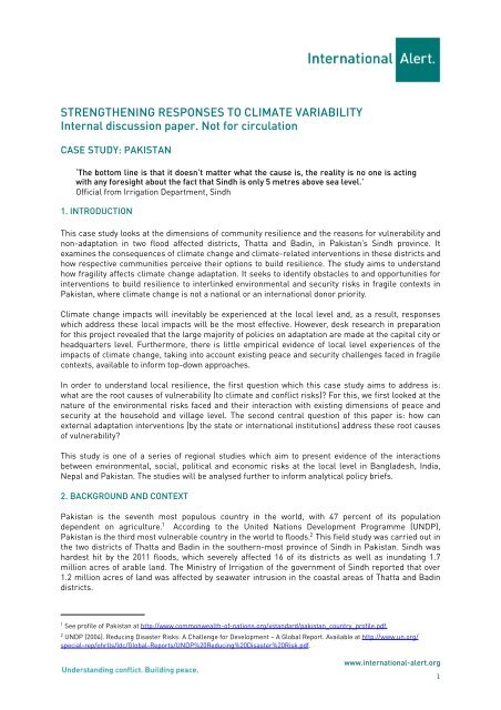 Pakistan case study (PDF) - International Alert