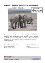 AFRIKA - Namibia, Botswana und Simbabwe - Reisebüro Scholz