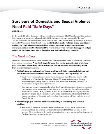 Survivors of Domestic and Sexual Violence Need Paid - National ...
