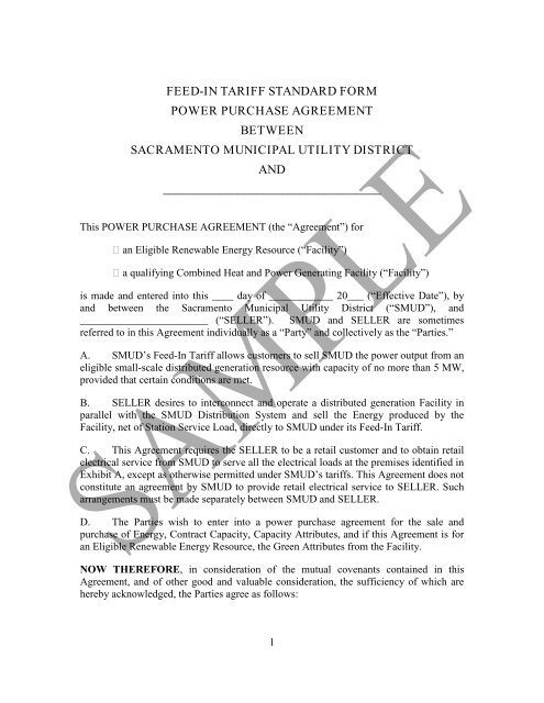 Standard Form Power Purchase Agreement Sacramento