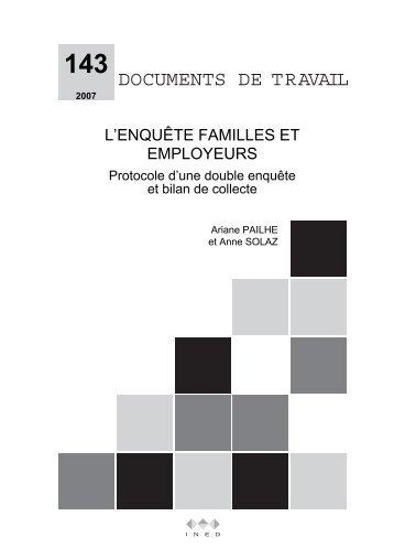 L'enquête Familles et employeurs. Protocole d'une double ... - Ined