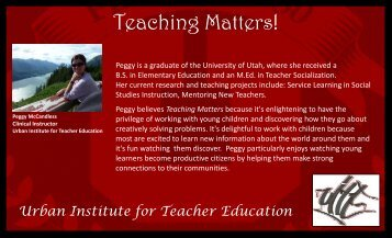 Teaching Matters! - Urban Institute for Teacher Education ...