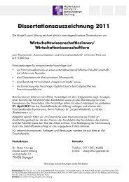 Dissertationsauszeichnung 2011 - Alcatel-Lucent Stiftung für ...