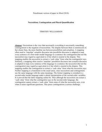 Necessitism, contingentism and plural quantification - University of ...