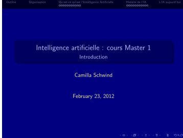 Intelligence artificielle : cours Master 1 - Introduction