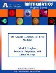 On Acyclic Complexes of Free Modules Meri T. Hughes, David A ...