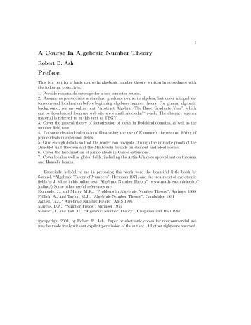 Algebraic Number Theory (Ash 95). - Index of