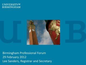 Birmingham Professional Forum 29 February 2012 Lee Sanders ...