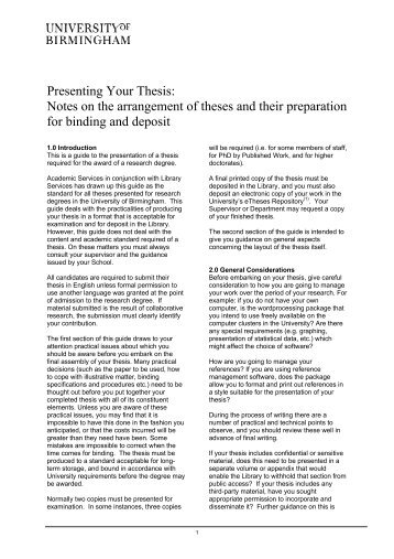 Presenting Your Thesis - University of Birmingham