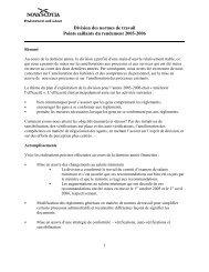 Division des normes de travail Points saillants du rendement 2005 ...