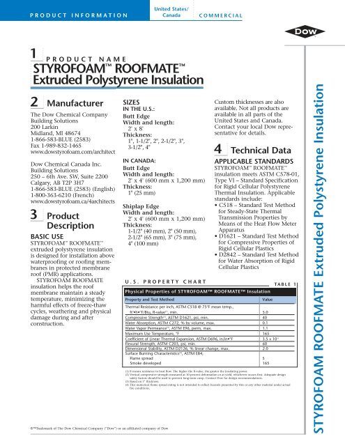 Dow Roofmate Product Data Sheet Brock White