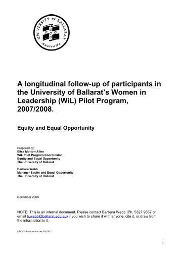 UB's Women in Leadership Pilot Program, Report on 2009 Follow-up