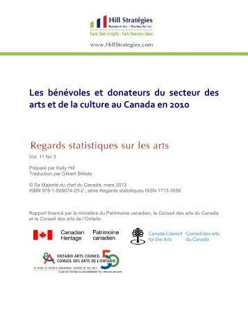 Les bénévoles et donateurs du secteur des arts et ... - Hill Stratégies