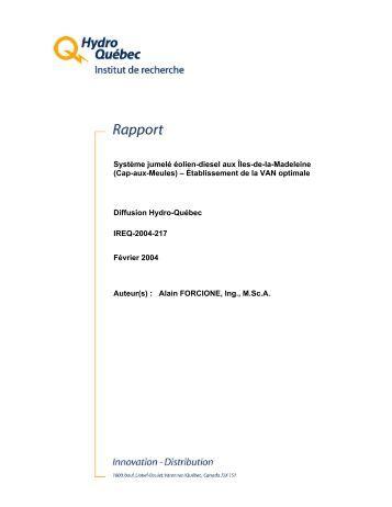 Modle pour Rapport Interne - Régie de l'énergie