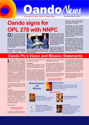 Oando signs for OPL 278 with NNPC - Oando PLC