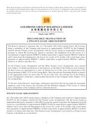 Discloseable Transaction of A Finance Lease ... - goldbond group