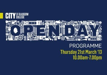 Thursday 21st March '13 10.00am-7.00pm - City of Glasgow College