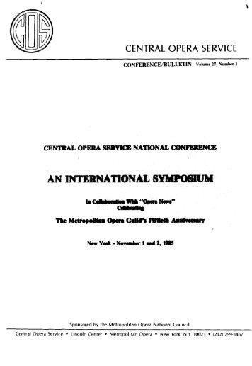 Central Opera Service Bulletin - Spring/Summer, 1986 - CPANDA