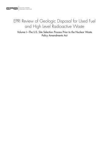 EPRI Review of Geologic Disposal for Used Fuel and High Level ...