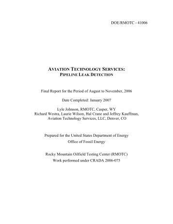 aviation technology services: pipeline leak detection - RMOTC