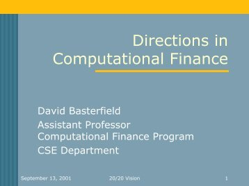 Directions in Computational Finance - UCL Department of Computer ...